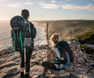 Two hikers looking over Kangaroo Island.